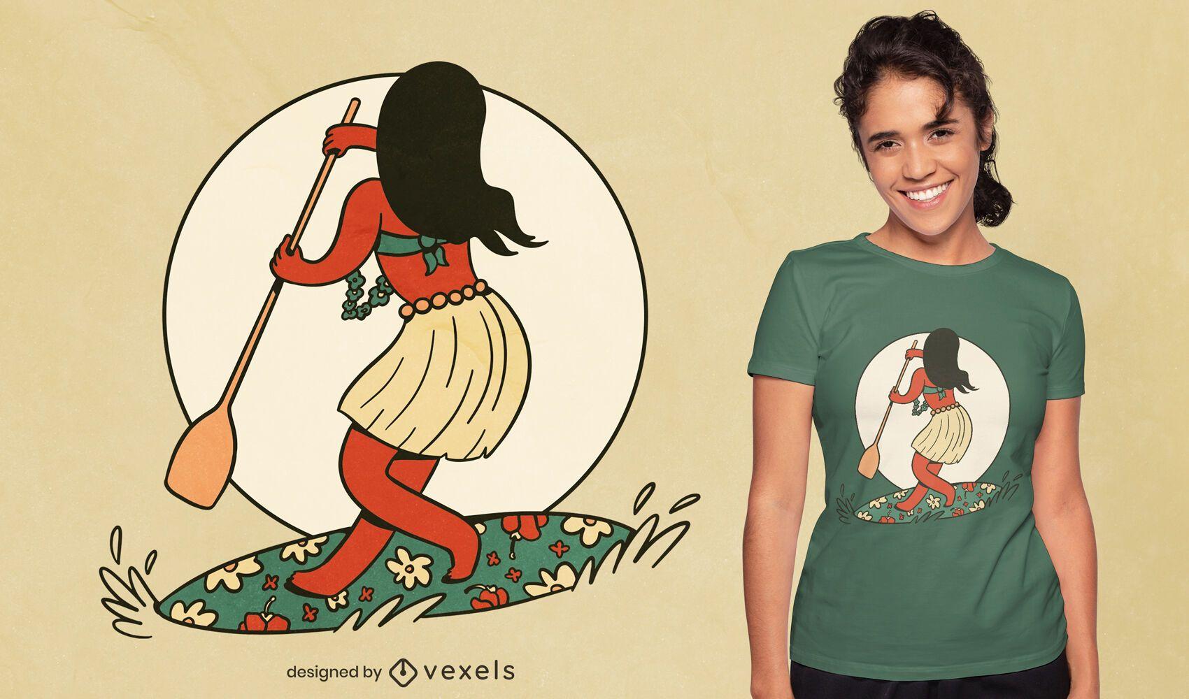 Diseño de camiseta de niña de deporte de paddleboard.