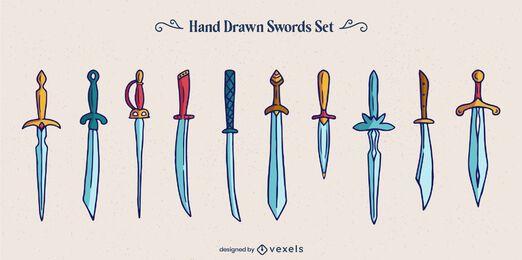 Conjunto de guerreiros com estilos de espadas e armas