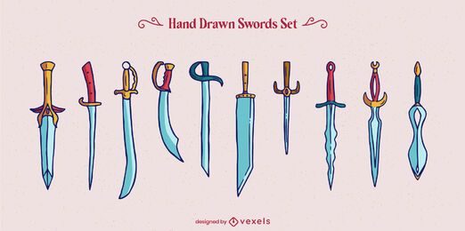Sword weapon warrior elements set