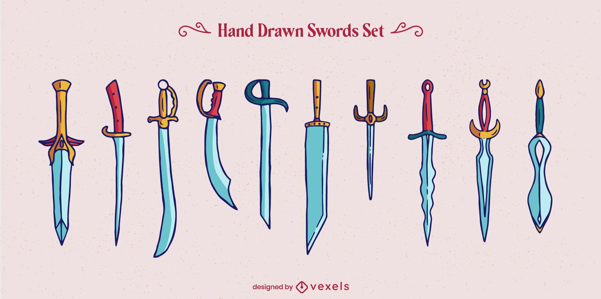 Conjunto de elementos de guerreiro espada arma