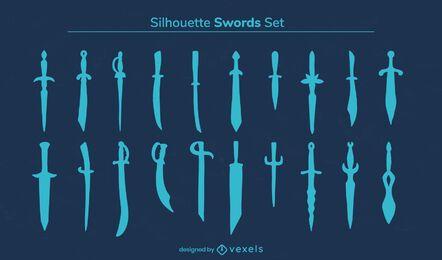 Conjunto de silhueta de guerreiro com espada e arma