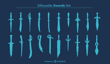 Sword weapon warrior silhouette set