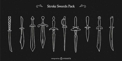 Conjunto de arte em linha de guerreiro com espada e arma
