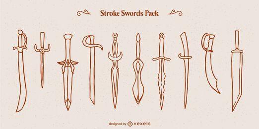Conjunto de arte em linha de guerreiros com armas de espada