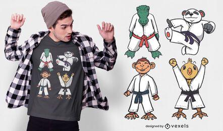 Diseño de camiseta de personajes de animales de judo.