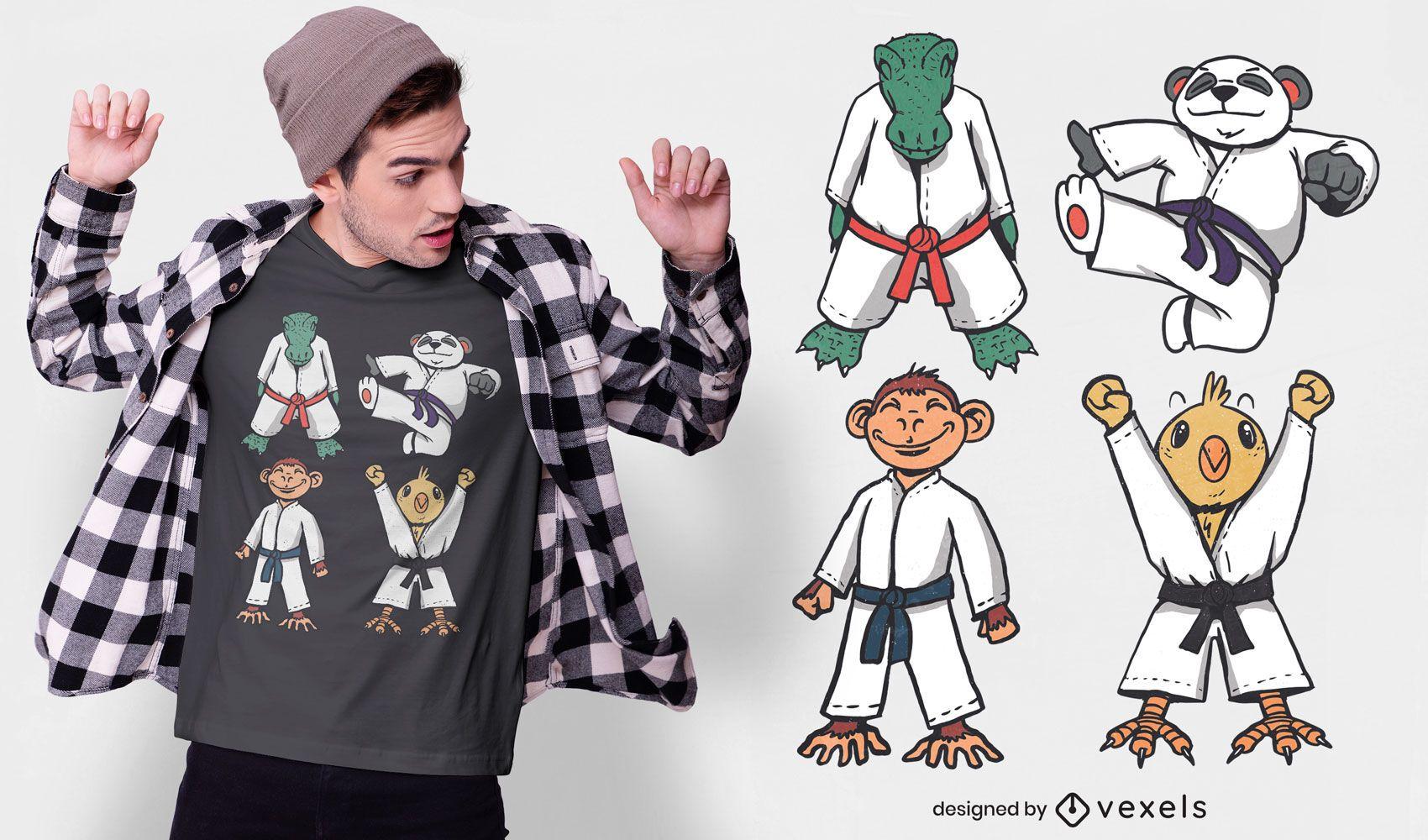 Judo animal characters t-shirt design