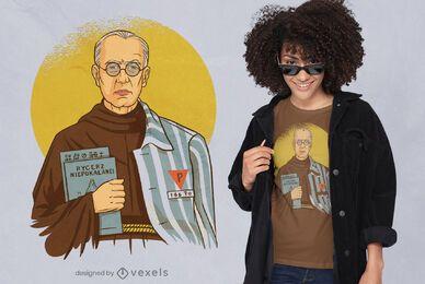 Diseño de camiseta de religión católica santa.