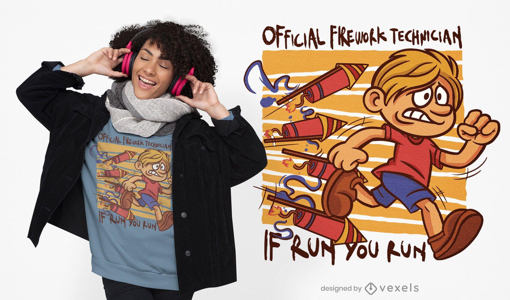 Diseño de camiseta de niño corriendo fuegos artificiales