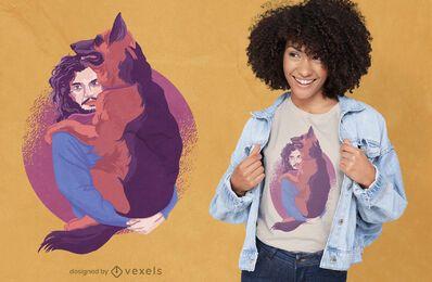 Diseño de camiseta de hombre y perro pastor alemán.