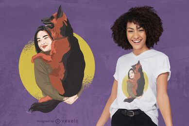 Diseño de camiseta de mujer y perro pastor alemán.