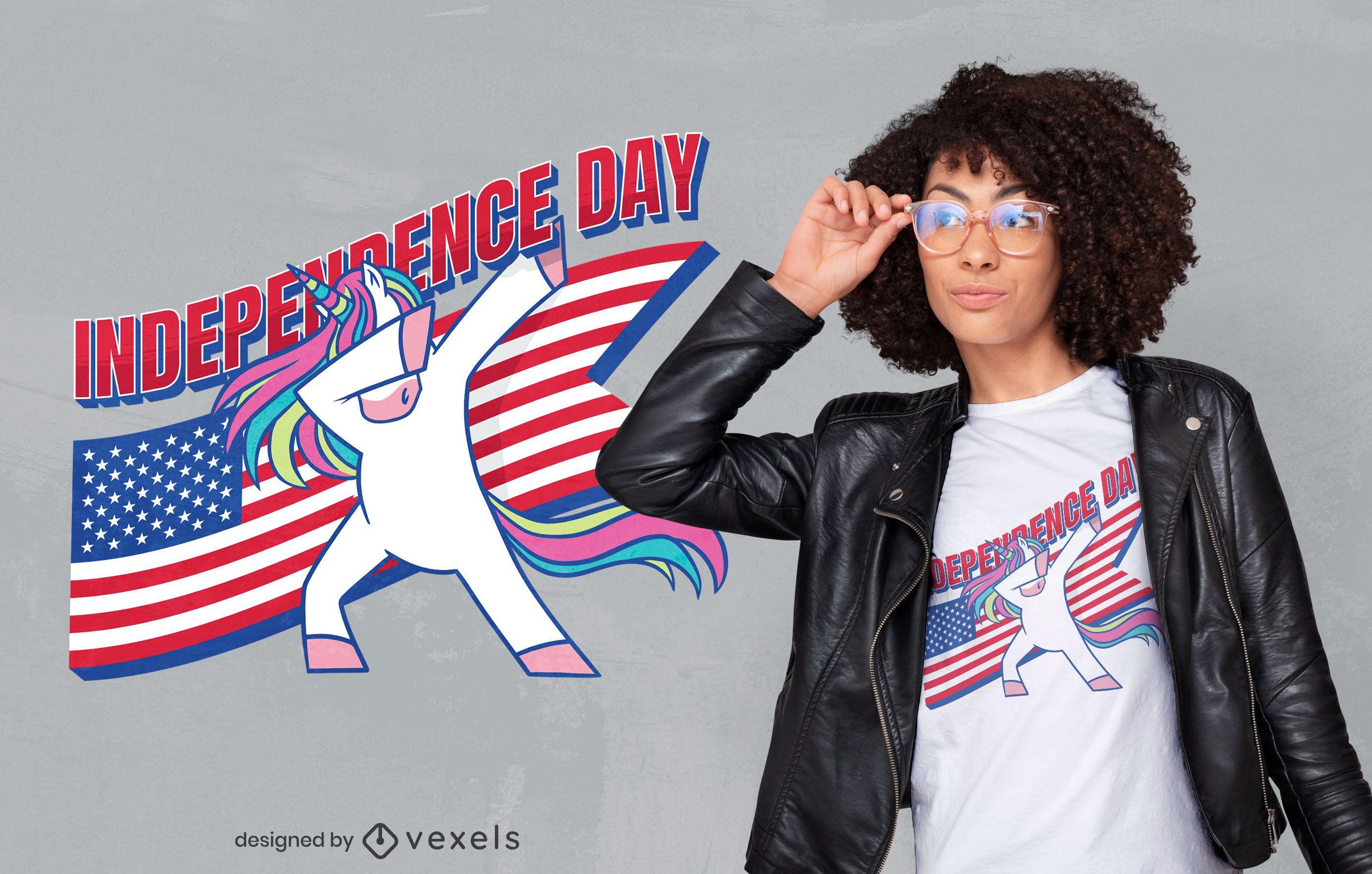 Diseño de camiseta de unicornio del día de la independencia