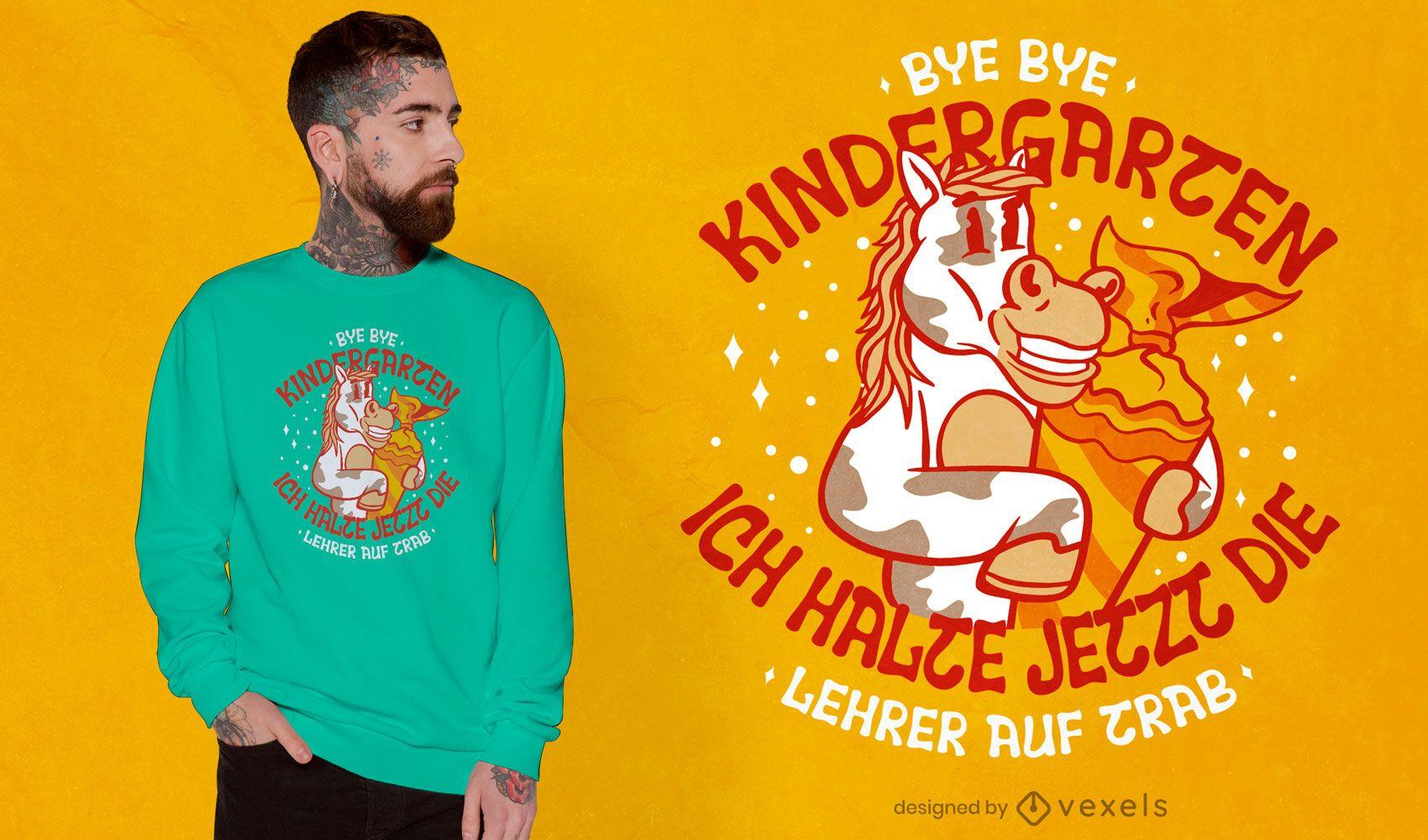 Adiós diseño de camiseta de jardín de infantes.