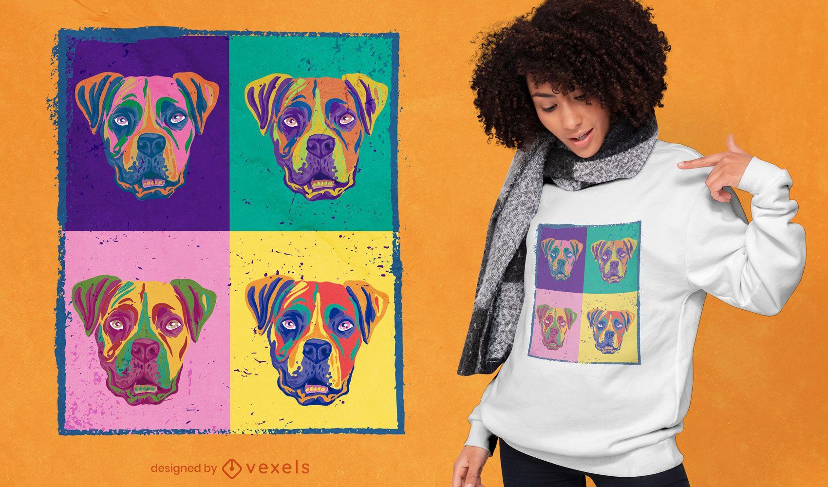 Diseño de camiseta de perros boxer coloridos.