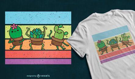 Diseño de camiseta de suculentas bailando.