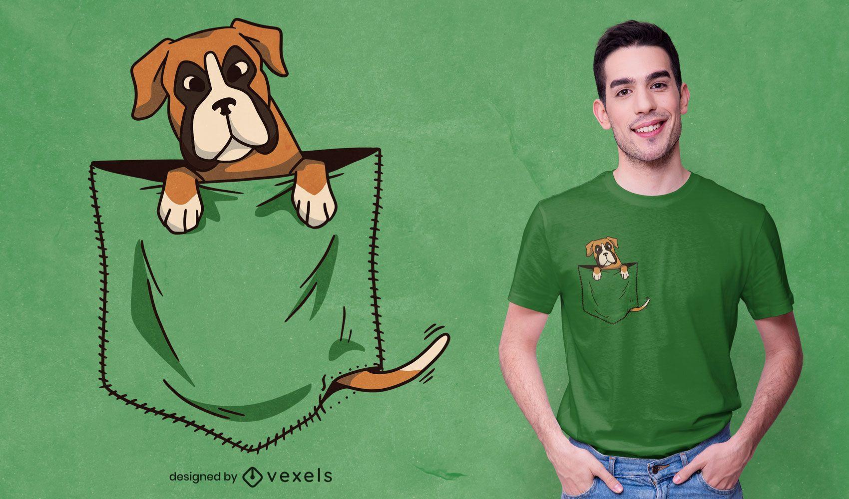 Diseño de camiseta de perro en el bolsillo.