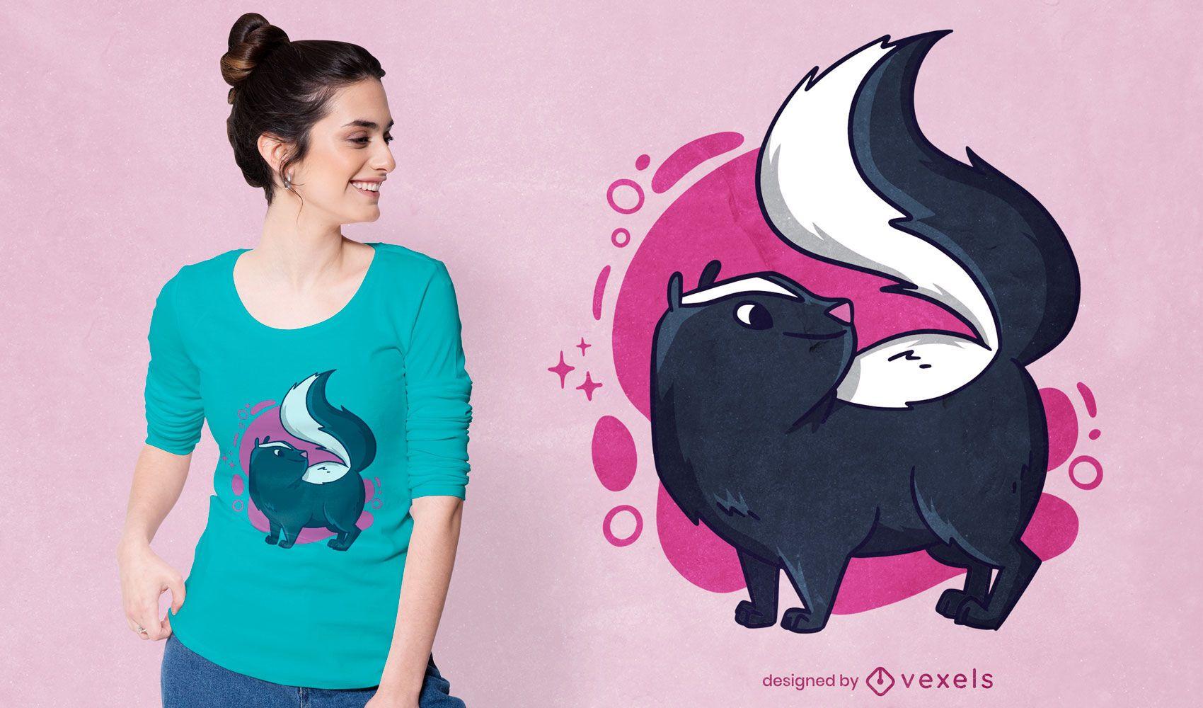 Lindo diseño de camiseta de mofeta