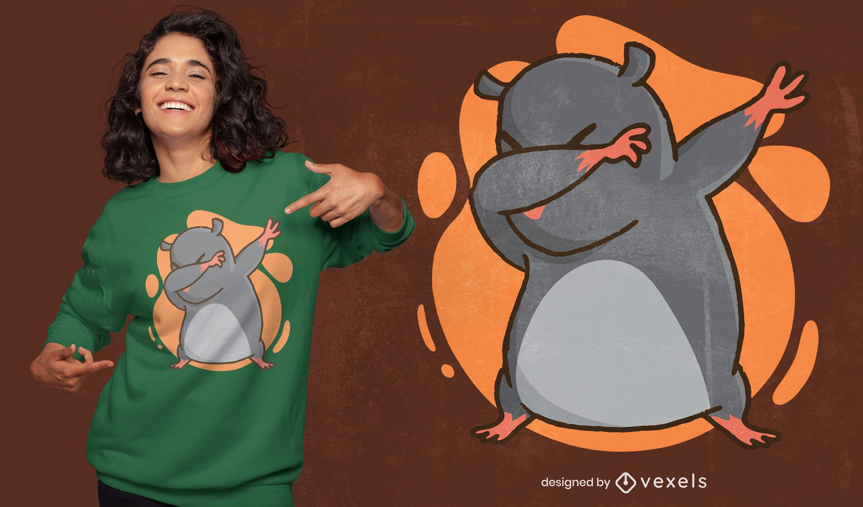 Cute mole dabbing funny t-shirt design