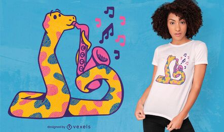 Diseño de camiseta de saxofón serpiente colorida