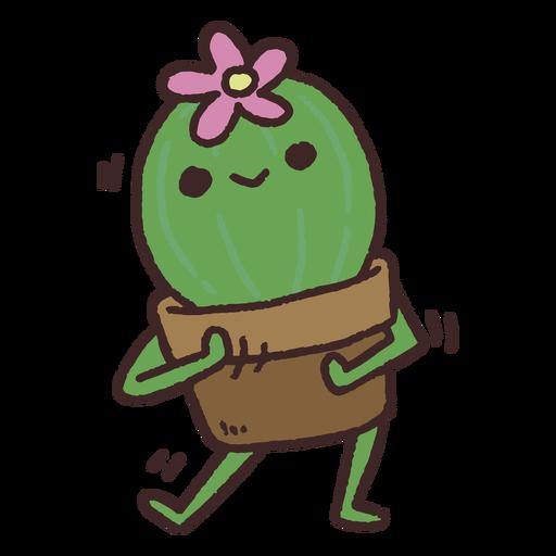 Cute dancing flowered cactus