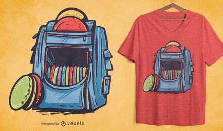 Diseño de camiseta cómica con bolsa de golf de disco.