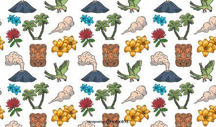 Diseño de patrón de elementos de isla tropical