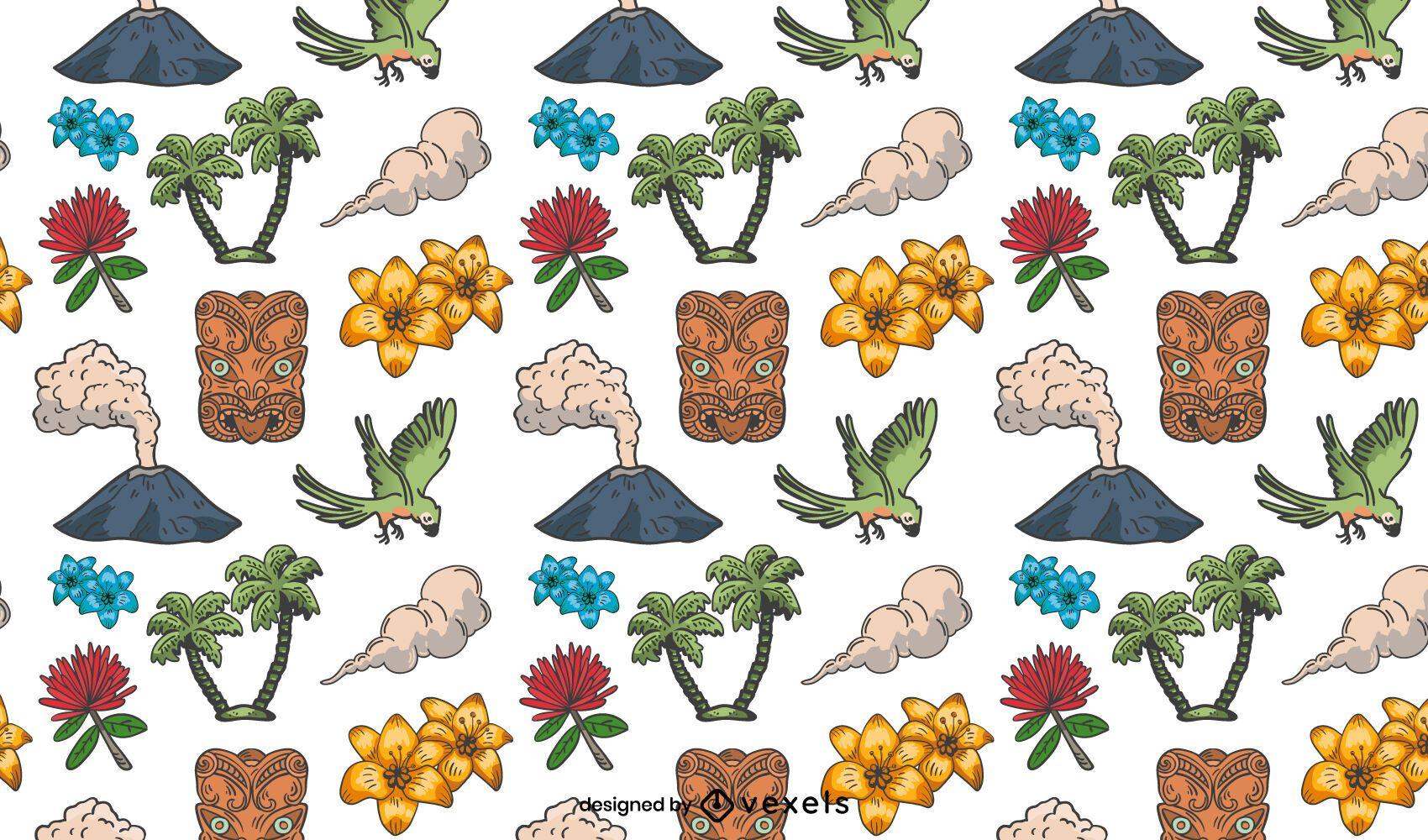 Tropical island elements pattern design