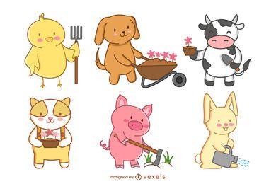 Cute farm animals gardening set