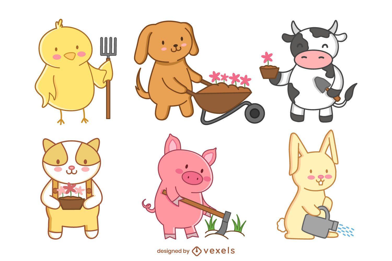 Conjunto de jardinagem de animais de fazenda fofos