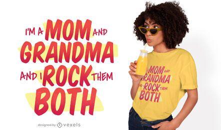 Diseño de camiseta con letras de mamá y abuela.