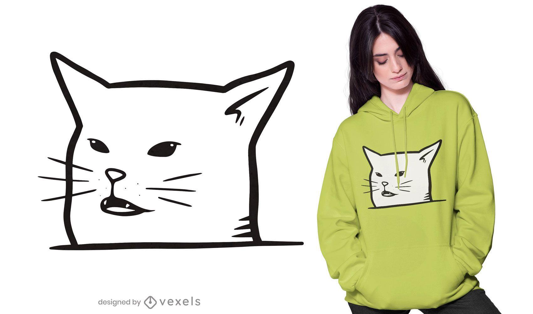 Diseño de camiseta de cara de meme de gato blanco