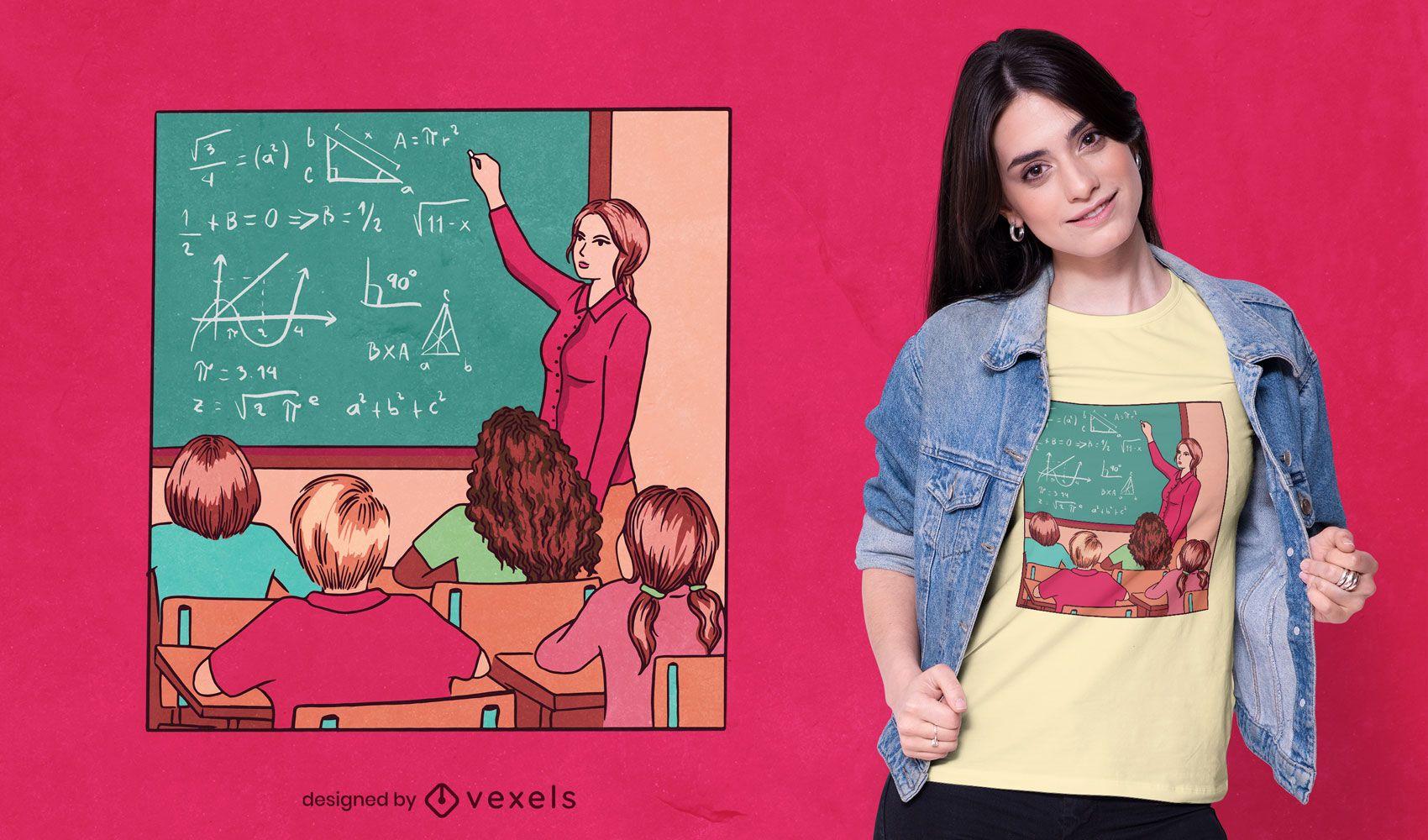 Profesor escribiendo a bordo diseño de camiseta.