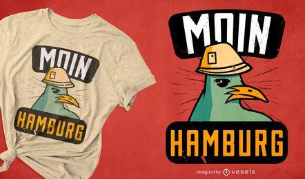 Gaviota con diseño de camiseta de personaje de sombrero.