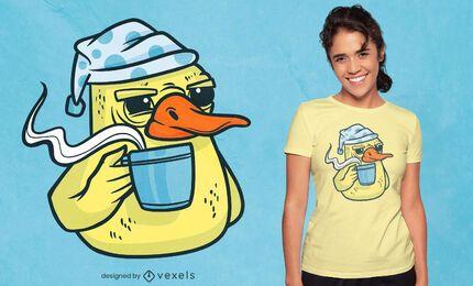Diseño de camiseta de personaje de café de pato.