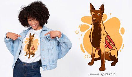 Diseño de camiseta de ilustración de perro de servicio