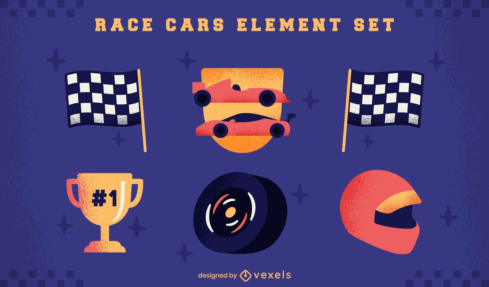 Conjunto de elementos de competencia de autos de carrera.
