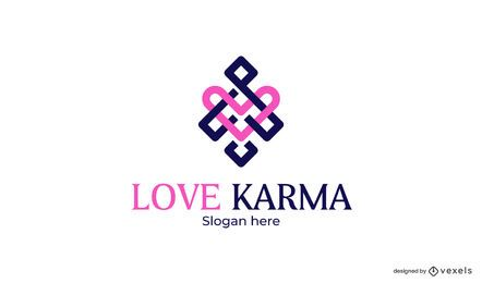 Design de modelo de logotipo de amor karma