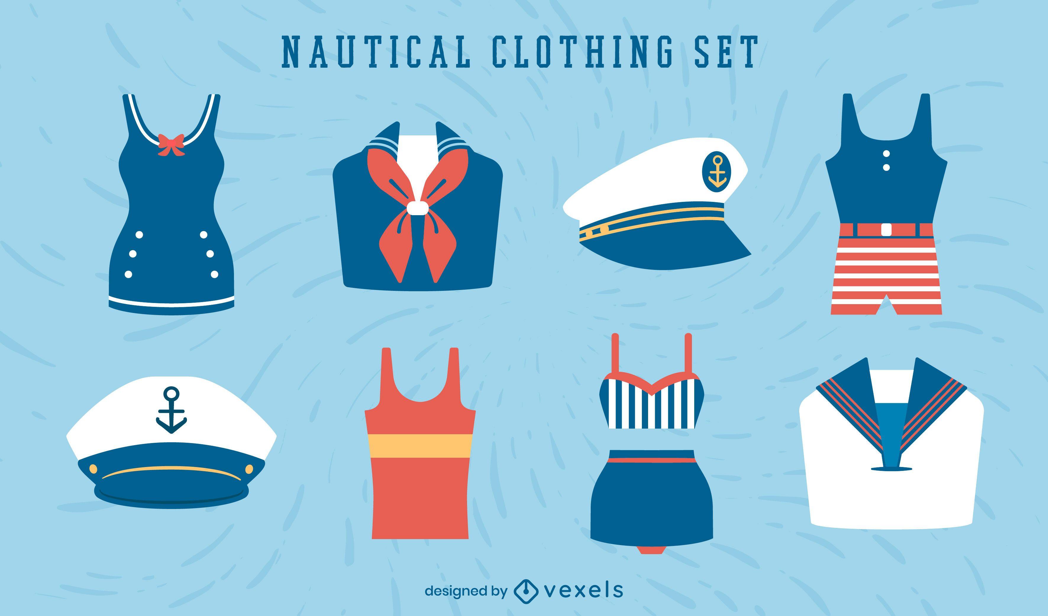 Conjunto de roupas náuticas vintage de marinheiro