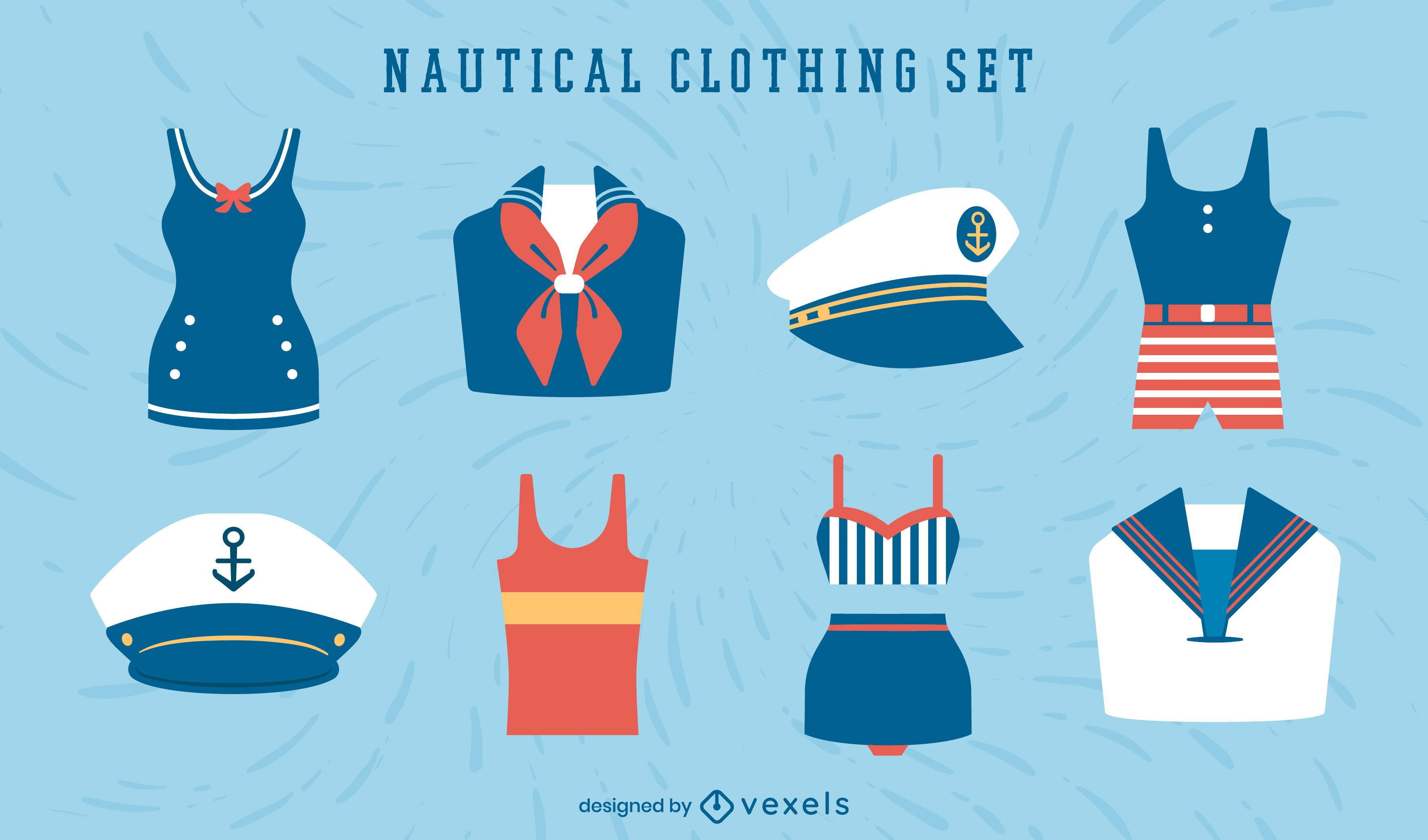 Nautical vintage sailor clothing set