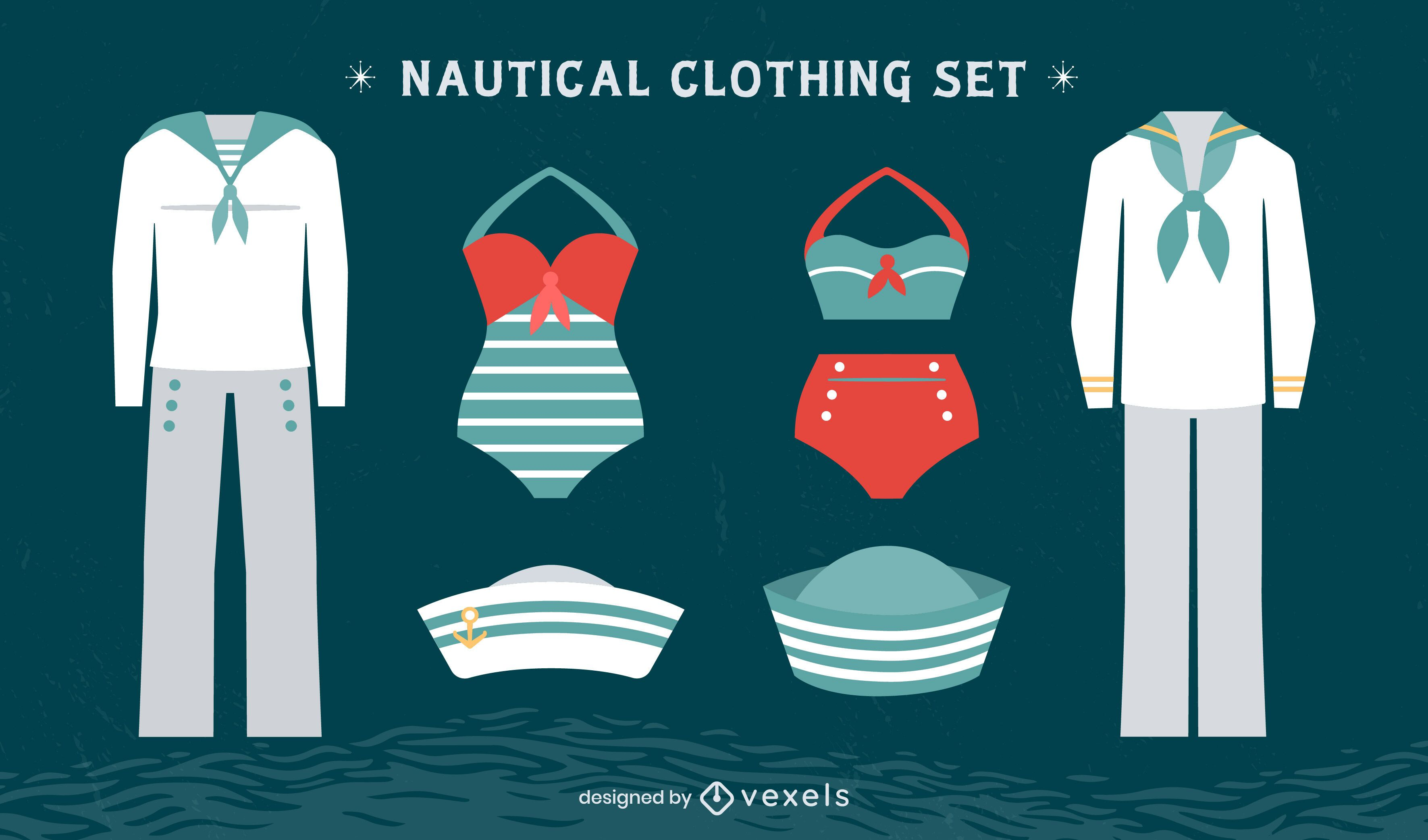 Conjunto de uniforme náutico vintage de marinheiro