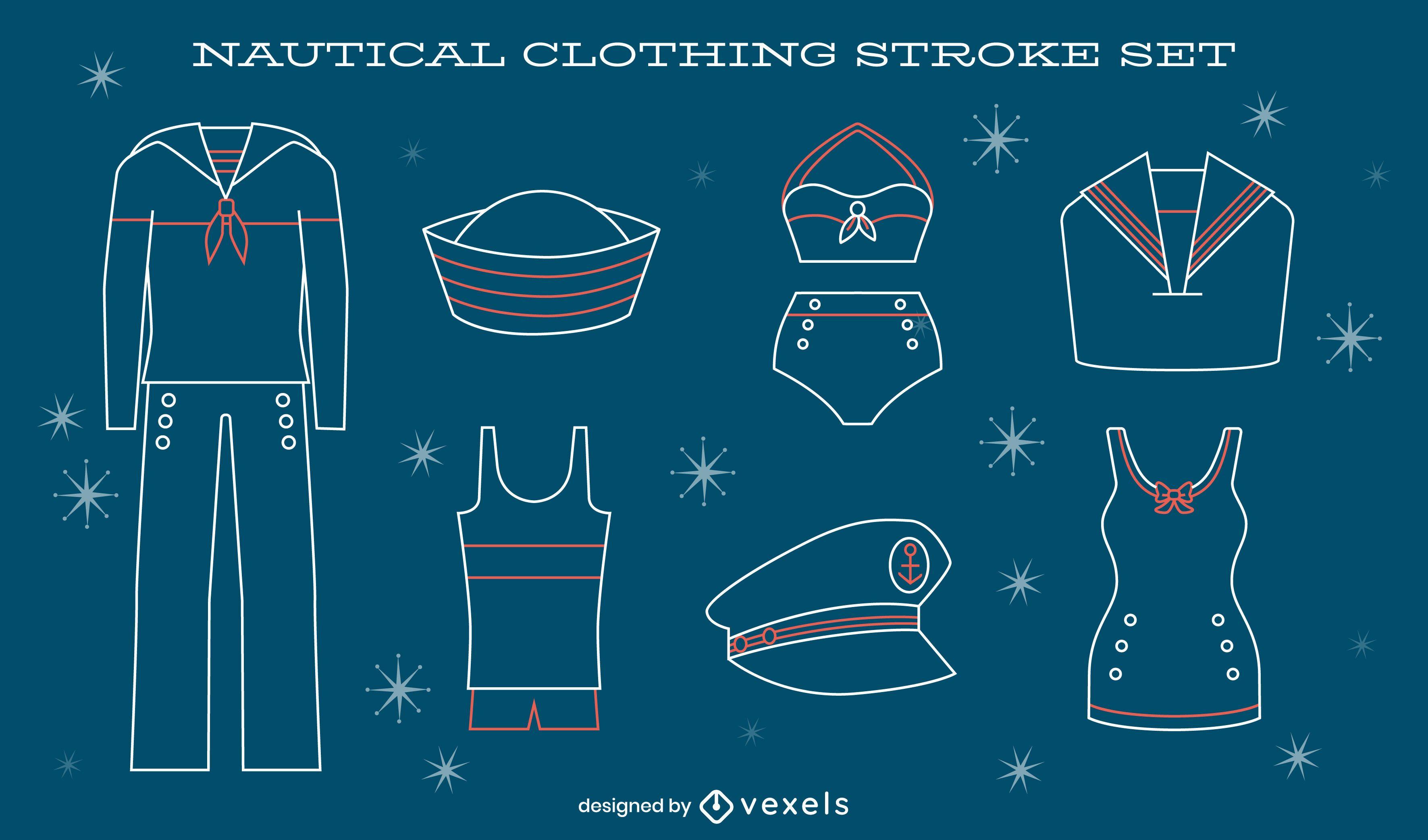 Nautical vintage sailor uniform line art set
