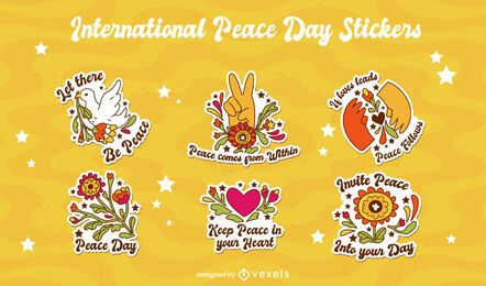 International peace day sticker set