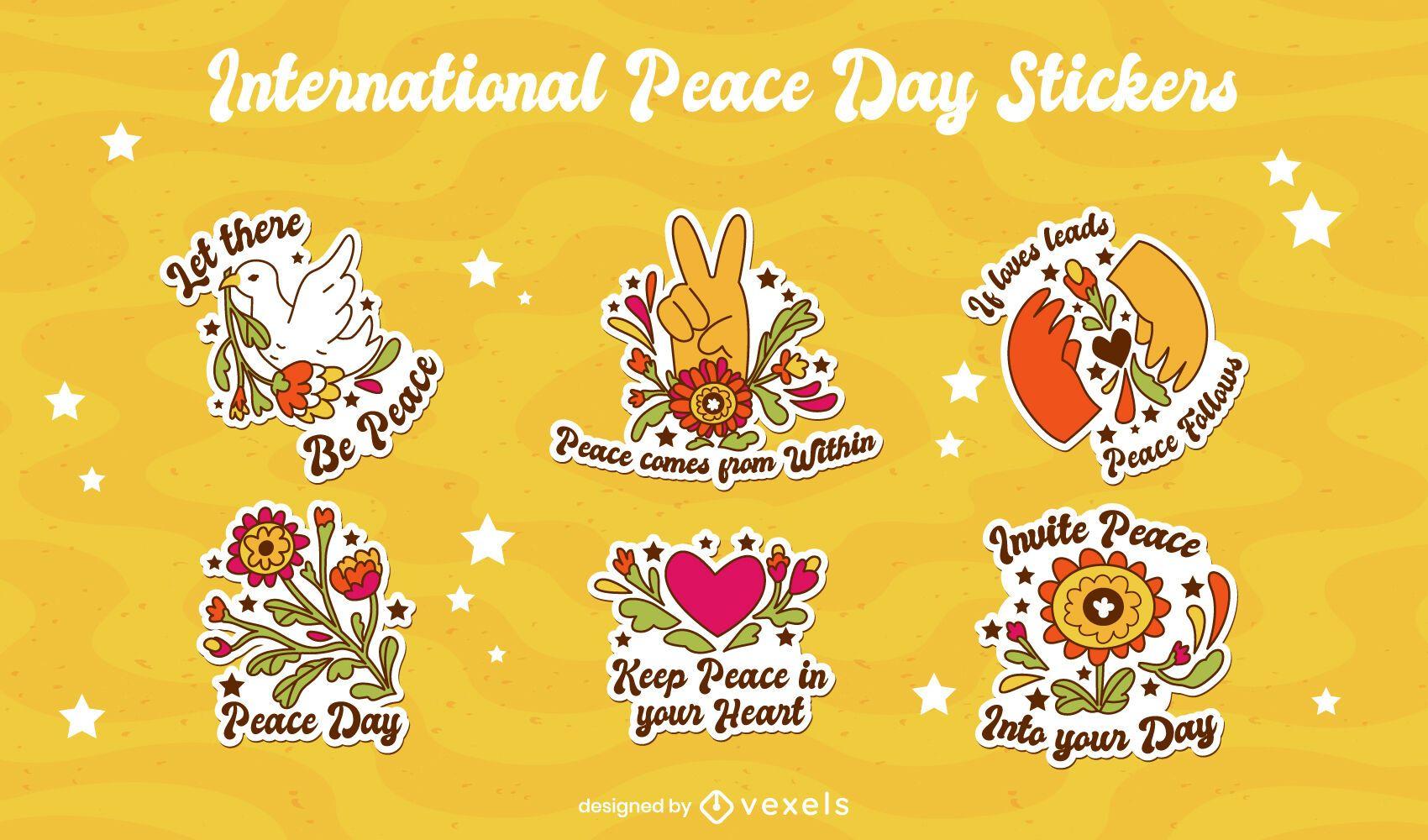 Conjunto de pegatinas del día internacional de la paz