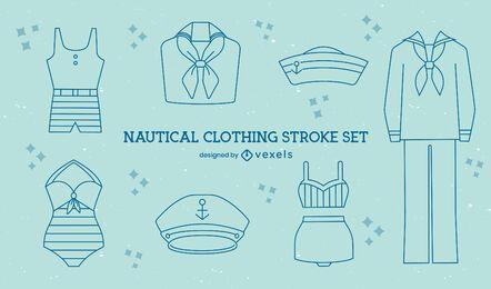 Conjunto de arte de línea de ropa de marinero vintage náutico