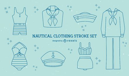 Nautical vintage sailor clothing line art set
