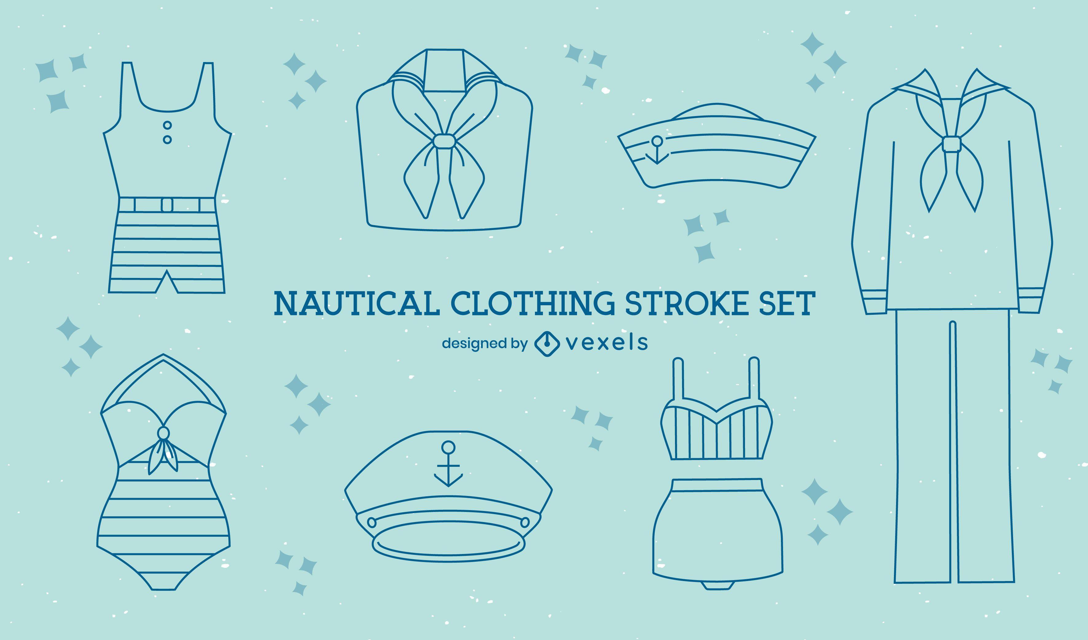 Conjunto de arte náutica de roupas vintage de marinheiro