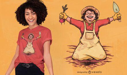 Design de t-shirt de mulher feliz jardineira