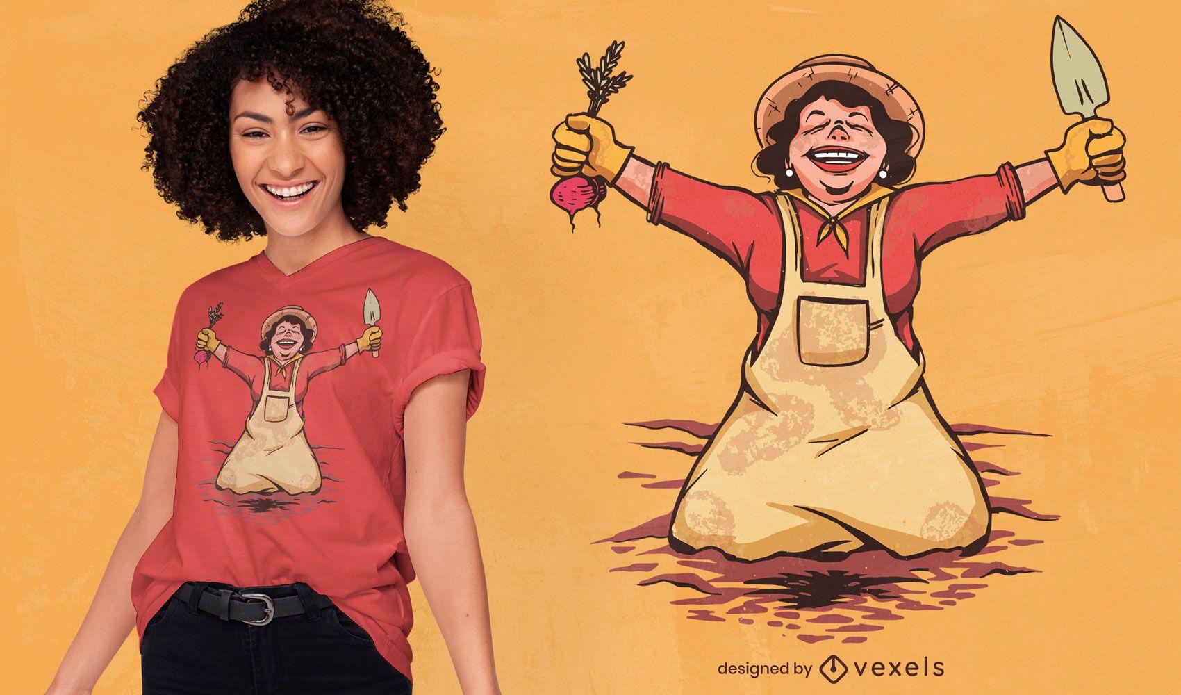 Happy gardener woman t-shirt design