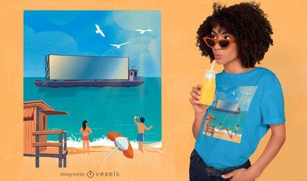 Diseño de camiseta de ilustración de playa de pantalla de barco