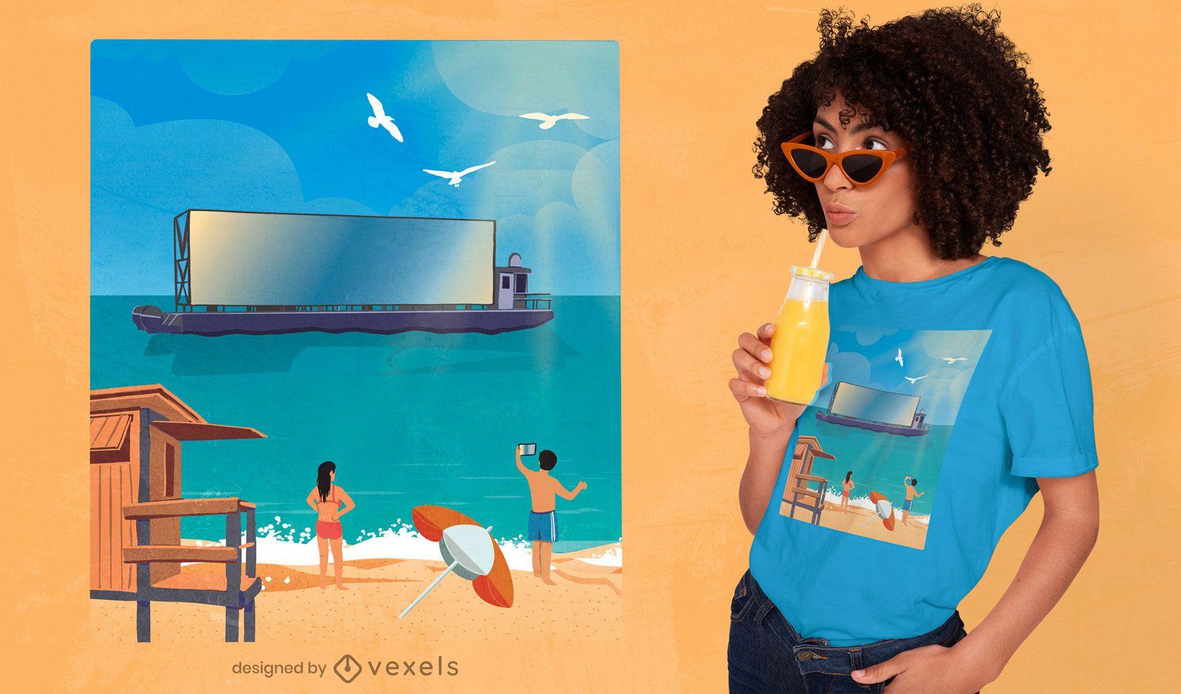 Boat screen beach illustration t-shirt design