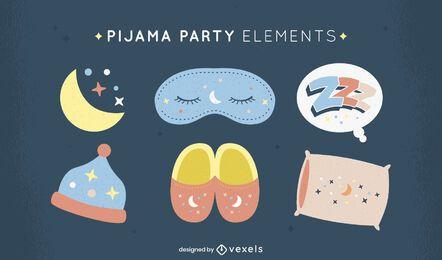 Conjunto de elementos de pijama para festa do pijama